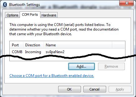 """COM Ports"" tab on the ""Bluetooth Settings"" dialog"